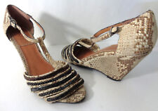 BACIO 61 Cadorago 7.5M Tan Taupe Snake Leather Bronze Chain Wedge Sandals Shoes