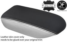 BLACK & WHITE TOP GRAIN REAL LEATHER ARMREST COVER FITS GT-R GTR R35 2009-17