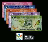 Sri Lanka Set 5 Pcs BANKNOTES, 20 50 100 500 1000 Rupees 2015-2018 p123-p128 UNC