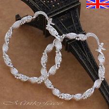 Ladies 925 Silver Hoop Earrings Large Twist Texture Bead Gift 45mm Free Gift Bag