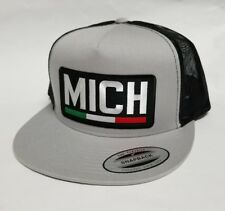 Michoacan Mexico Hat Mesh Trucker Silver Black Flat Build New