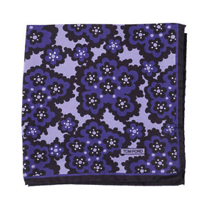 New $180 TOM FORD Purple and Black Floral Print Silk Pocket Square