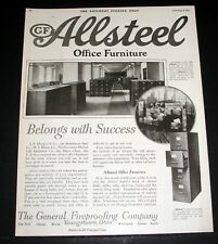 1921 OLD MAGAZINE PRINT AD, GF ALLSTEEL OFFICE FURNITURE, BELONGS WITH SUCCESS!
