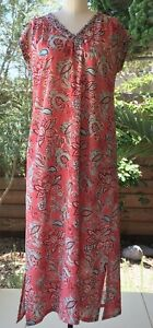 Anokhi Deep Coral & Red Floral Cotton Nightgown, Ankle Length, 100% Cotton