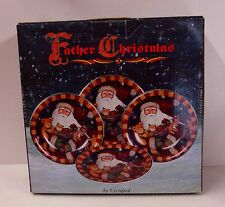 Certified International FATHER CHRISTMAS Set of FOUR Dessert Plate NEW IN BOX