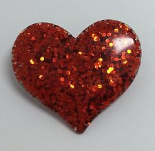 Red Large Heart Glitter Charms Resin Brooch Pin Badge G010 Kitsch Fun
