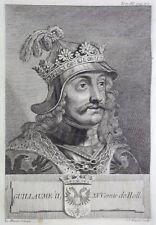 Gravure Antique print GUILLAUME II Comte de Hollande Flipart Count of Holland