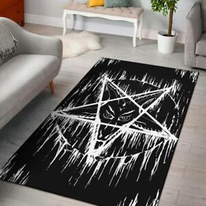 Satanic Inverted Pentagram Area Rug Large Pentagram Version