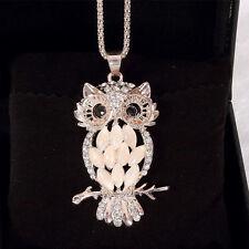New Girls Crystal Rhinestone Opal Owl Pendant Necklace Sweater Chain Jewelry
