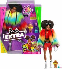 New! 2020 Mattel Barbie Extra Doll In Rainbow Coat With Pet Poodle New In Box