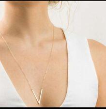 Long V Angled Bar Necklace Gold toned