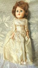 """Vtg Antique 10"""" Hard Plastic Bride Doll Straight Leg Fully Jointed Unsigned"""