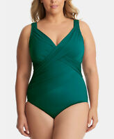 Miraclesuit Dark Green Plus Size Underwire Tummy Control One-Piece Swimsuit, 16W