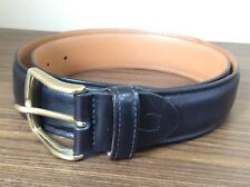 CANALI Black Leather Dress Belt Made In ITALY mens 90/105 Solid Brass Buckle