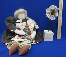 Decorative Cloth Folk Art Doll Holding Baby & Believe Fabric Flower  Lot of 2