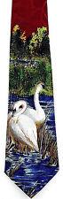 Lake Swans Men's Necktie Animal White Swan Bird Nature Fashion Red Neck Tie