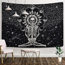 US Mandala Skull Tapestry Hippie Wall Hanging Psychedlic Throw Tapestries Decor