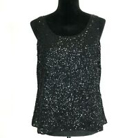 Eileen Fisher Med 100% Silk Blouse Tank Top Black Tiny Sequin Lined Dressy NICE