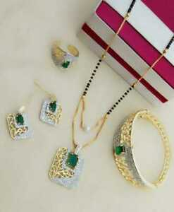 Indian Women Necklace Set With Bracelet Ring Gold Plated Jewelry Combo Gift Sale