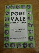 07/12/1974 Port Vale v Bury  (Cup Mark On Back). Thanks for viewing this item of