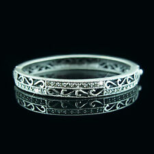 Ancient Silver with Swarovski crystals filigree vintage bangle bracelet