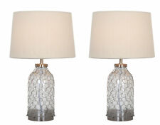 Pair of  Cream & Glass Bedside Lounge Table Light Lamps