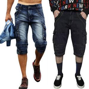 Mens Casual Cargo Combat Summer Shorts Denim Jeans Half Pants Bermuda Shorts