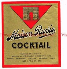 Unused 1940s AUSTRALIA Sydney Penfolds MAISON RUVIE COCKTAIL Wine Label