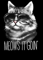Meows It Goin Cool Cat Wearing Sunglasses Kitty Funny Animal T-Shirt Tee