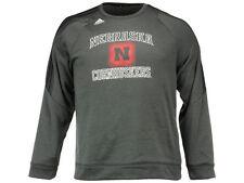 NWT Nebraska Cornhuskers adidas ClimaWarm Fleece Gray Size XL Crew Sweatshirt