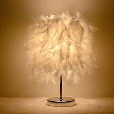 Feather Shade Lamp Metal Vintage Elegant Table Bedside Desk Light Decoration New