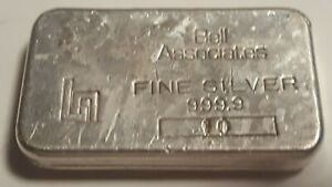 Very Rare!  Bell Associates 10oz  Silver Bar .999  No Reserve! Great Looking Bar