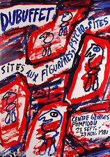 JEAN DUBUFFET AFFICHE FIGURINES PSYCHO-SITES CENTRE POMPIDOU PARIS 1981 POSTER