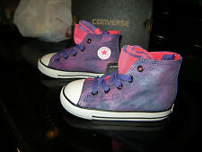 Brand New Toddler Girls Purple & Pink Converse CT Party Hi Lace Tennis Shoes, 8