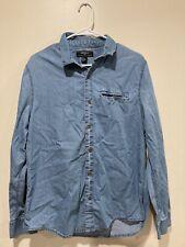 Forever 21 Men's Denim Button Up Shirt Size Large Blue D1