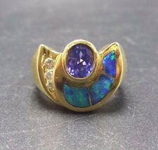 Vintage ESTATE 18K GOLD TANZANITE with Diamonds and OPAL Inaly RING size 6