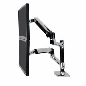 Ergotron LX Dual Stacking Arm Two-Monitor Mount Polished Aluminum (45-248-026)