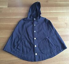 A.P.C. Blue Cotton Hooded Cape Poncho With Silver Buttons Sz XS