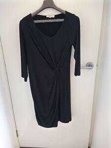 BRAVISSIMO SIZE 12 BLACK SILKY JERSEY DRESS 3/4 SLEEVES