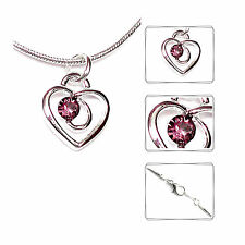 Heart Necklace Necklace Pendant Rhinestone Wedding Jewelry Bride Silver NEW