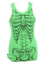 Neon Green Vest Top Skeleton Ribs M Horrorpunk