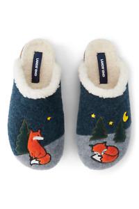 Lands End Women's Sleeping Fox Felt Scuff Slippers - Grey/Blue