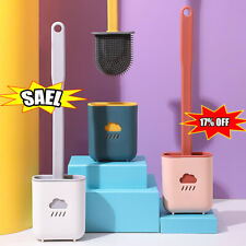Bathroom Silicone Bristles Toilet Brush with Holder Set Cleaning Brush NEW 2021