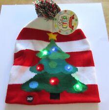 Lotsa Lites Flashing Holiday Knitted Hat -Christmas Tree- stripes - red green