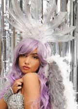 Deluxe Carnevale Showgirl Bianca e Argento Piuma Copricapo