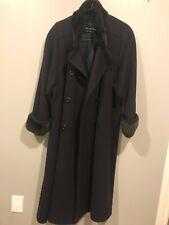 Revillon Black Long Sheared Nutria Trim Cashmere Coat Size 12
