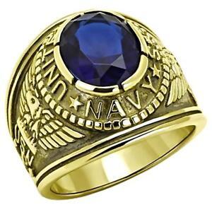 Navy G: Mens US Navy Military Service 316L Steel & IP 14K Gold Ring