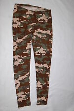 Womens Leggings GREEN BROWN CAMO Camouflage Print SIZE M 8-10