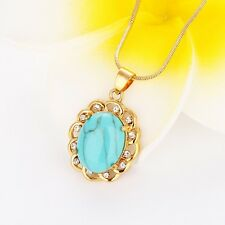 "18k Yellow Gold Filled turquoise Pendant 18"" Link Fashion Chain Charms Necklace"