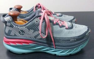 Hoka One One Bondi 5 Womens Running Shoes Gray Blue Pink Women's Size 9